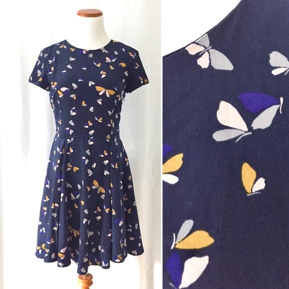 Stunning Zara Butterfly Navy Print Dress For Sale!
